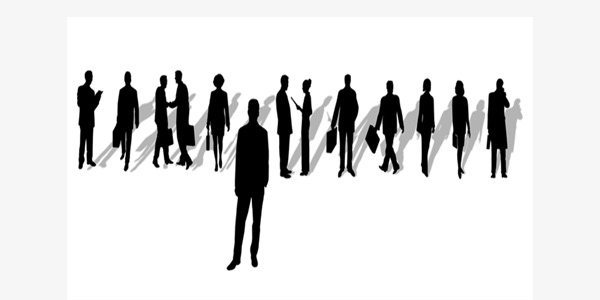 600x300 Business People Silhouette Vector, Silhouette Crowd, Movement