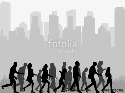 500x371 Vector, Silhouette Of A Crowd Of People Walking, Isolated Stock