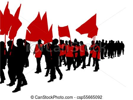 450x337 Flags Crowds Two. People Of With Large Flags On White Eps