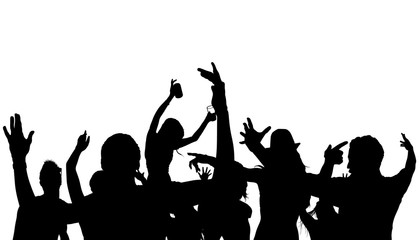420x240 Party Crowd Silhouette Vector