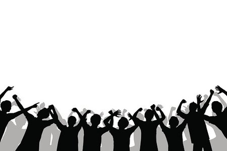 450x300 Silhouette Of Crowd People Premium Clipart