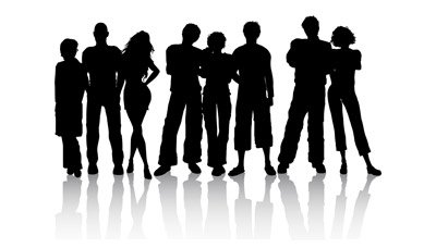400x228 Young People Silhouettes, Vector File