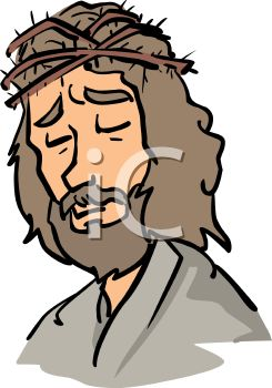 245x350 Cartoon Of Jesus With The Crown Of Thorns On His Head