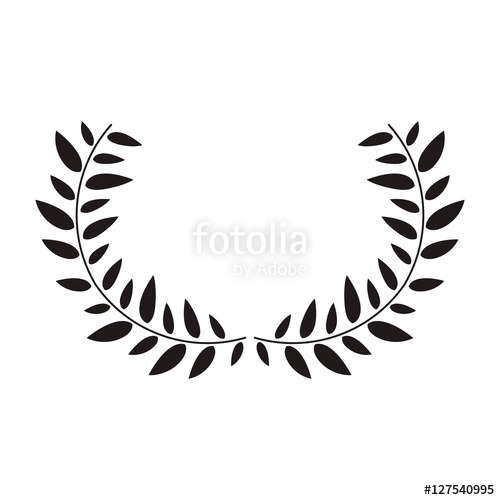 500x500 Black Silhouette Half Crown With Leaves Vector Illustration Stock