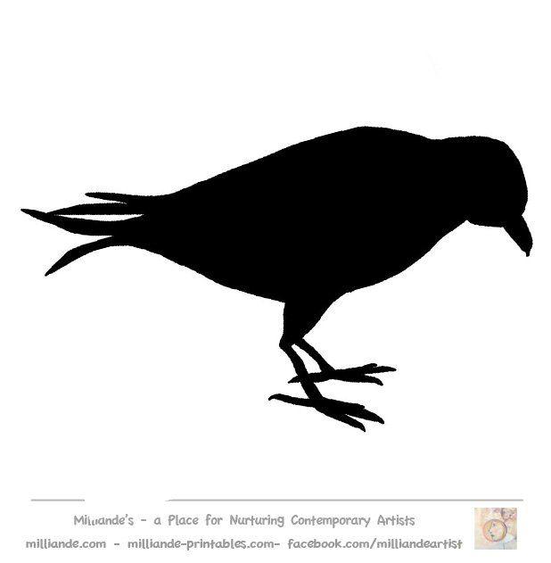 618x631 Crow Silhouette Bird Silhouette Stencil Template Crow Crafts