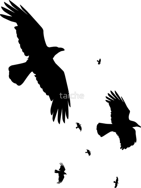 600x800 A Murder Of Crows In Flight Vector Silhouette Stickers By Taiche