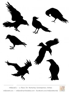 225x300 Crow Silhouettes Template Cricut Crow Silhouette