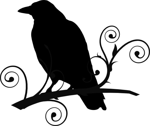 600x503 With 8 Crows Black In White Silhouette Clipart