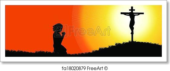 561x235 Free Art Print Of Prayer Silhouette