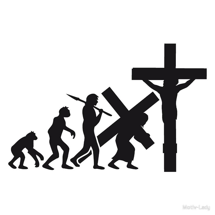900x900 Evolution Human Being Jesus Christ Believe Cross Crucifixion Funny