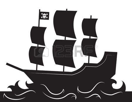 450x348 Pirate Ship Silhouette With Waves Stock Vector