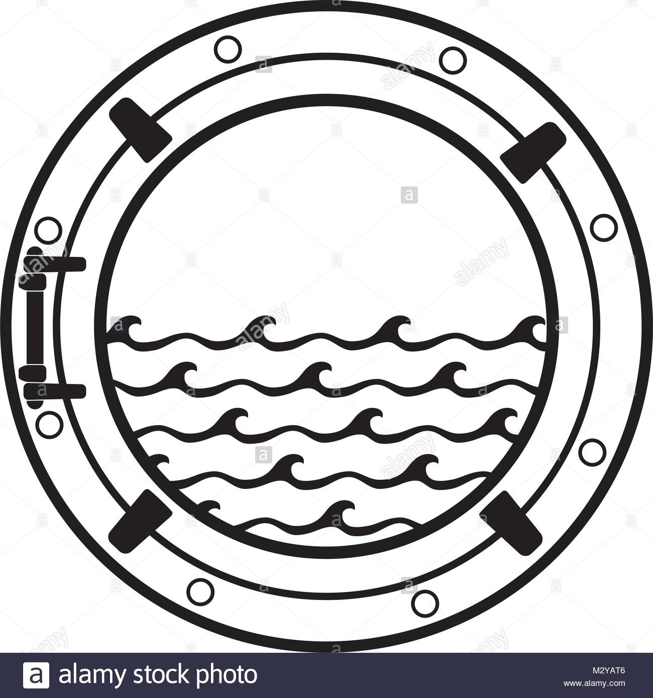 1300x1389 Vector Black And White Submarine Boat Window Symbol With Sea Waves