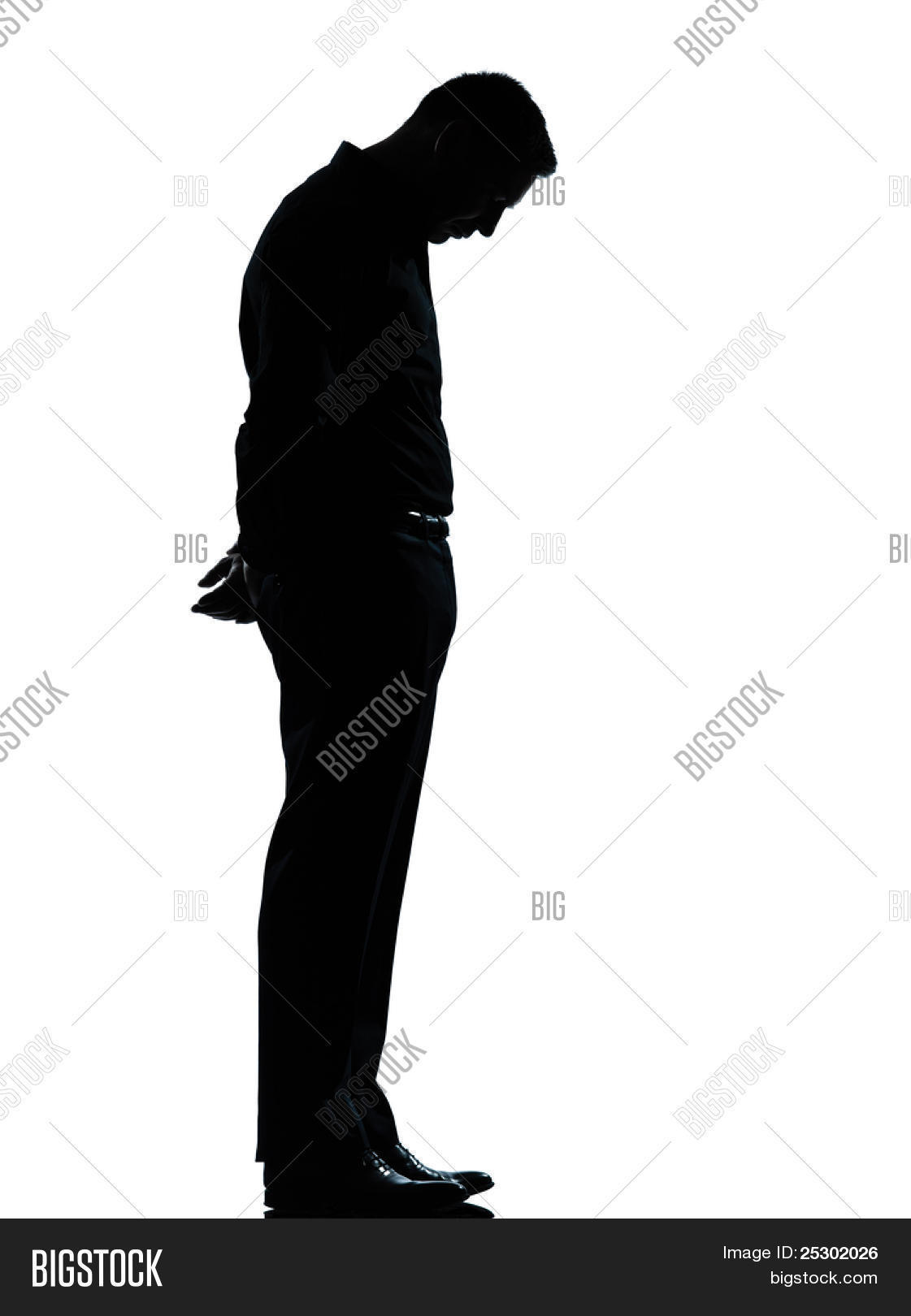 1121x1620 One Caucasian Business Man Sad Lonely Silhouette Image