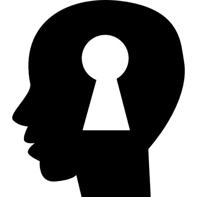 626x626 Keyhole Shape Inside A Human Bald Head Side View Silhouette Icons