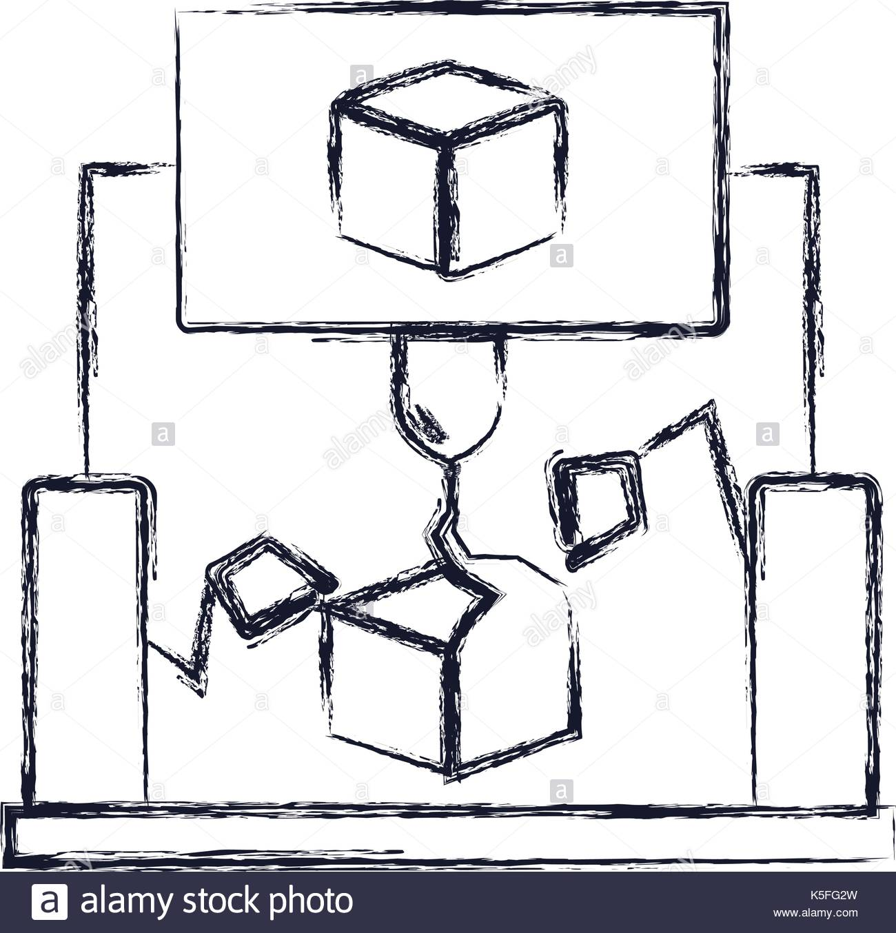 1300x1354 Cube 3d Design With Robotic Hands Monochrome Blurred Silhouette