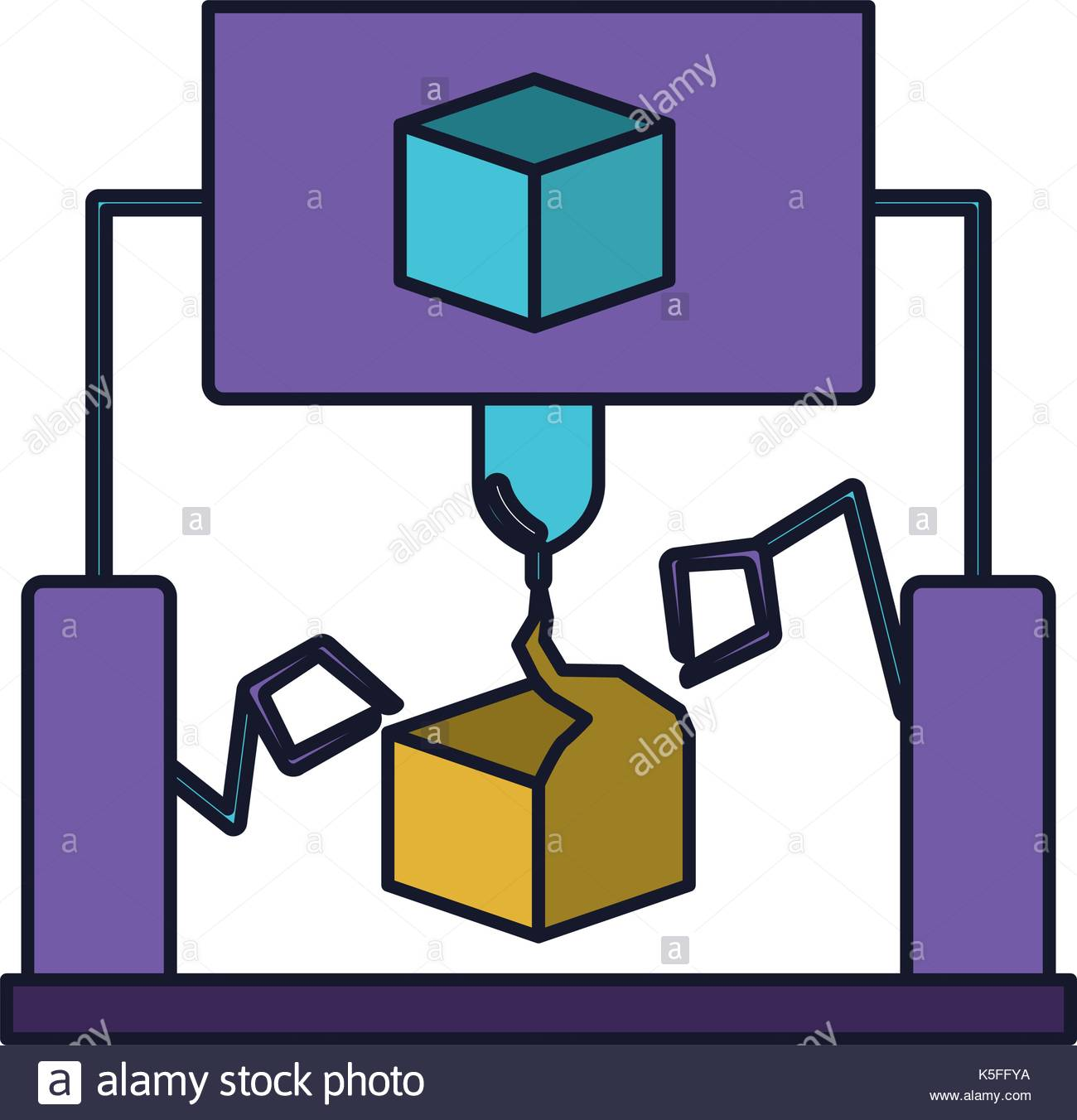 1300x1352 Cube Design With Robotic Hands Colorful Silhouette With Thick