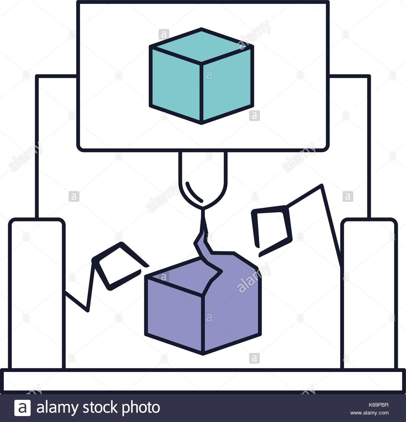 1300x1351 Cube Design With Robotic Hands In Color Section Silhouette Stock