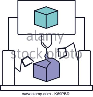 309x320 Cube Design With Robotic Hands In Watercolor Silhouette Stock
