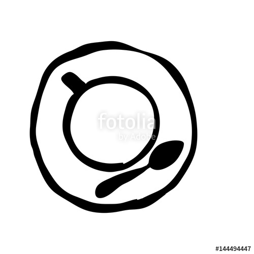 500x500 Black Silhouette Hand Drawn Of Coffee Cup Top View Vector