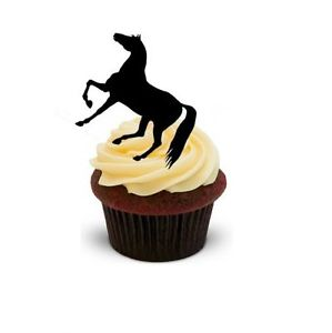 299x300 Horse Silhouette 12 Stand Ups Edible Image Cake Cupcake Toppers