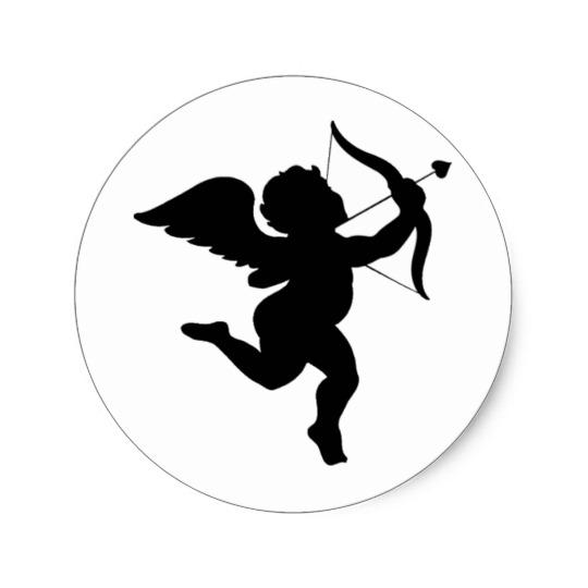 540x540 Cupid Silhouette Design! Classic Round Sticker