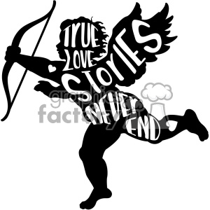 300x300 Royalty Free True Love Stories Never End Vector Cupid Silhouette