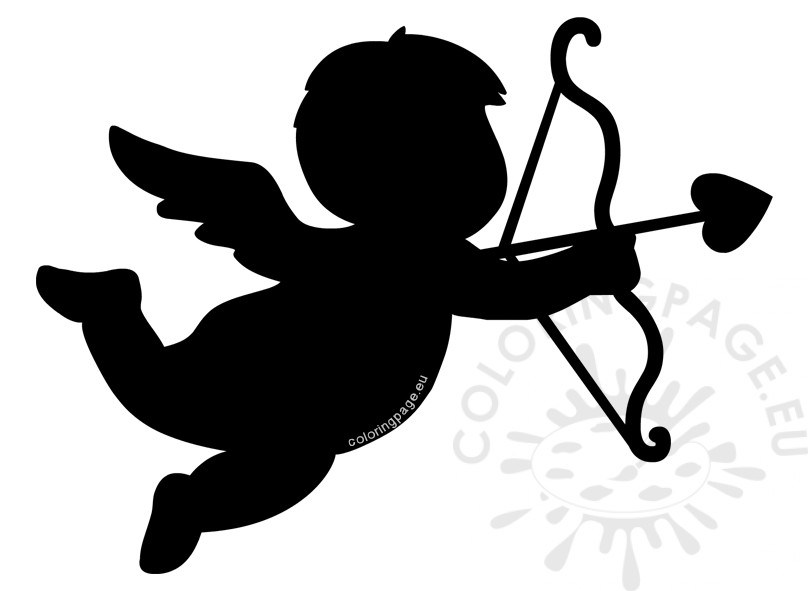 808x591 Valentine Cupid Silhouette Clipart Coloring Page