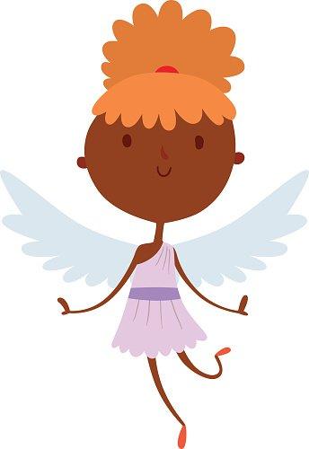 344x500 Cartoon Cute Cupid Angel Smile Girl Kid Vector Silhouette Premium