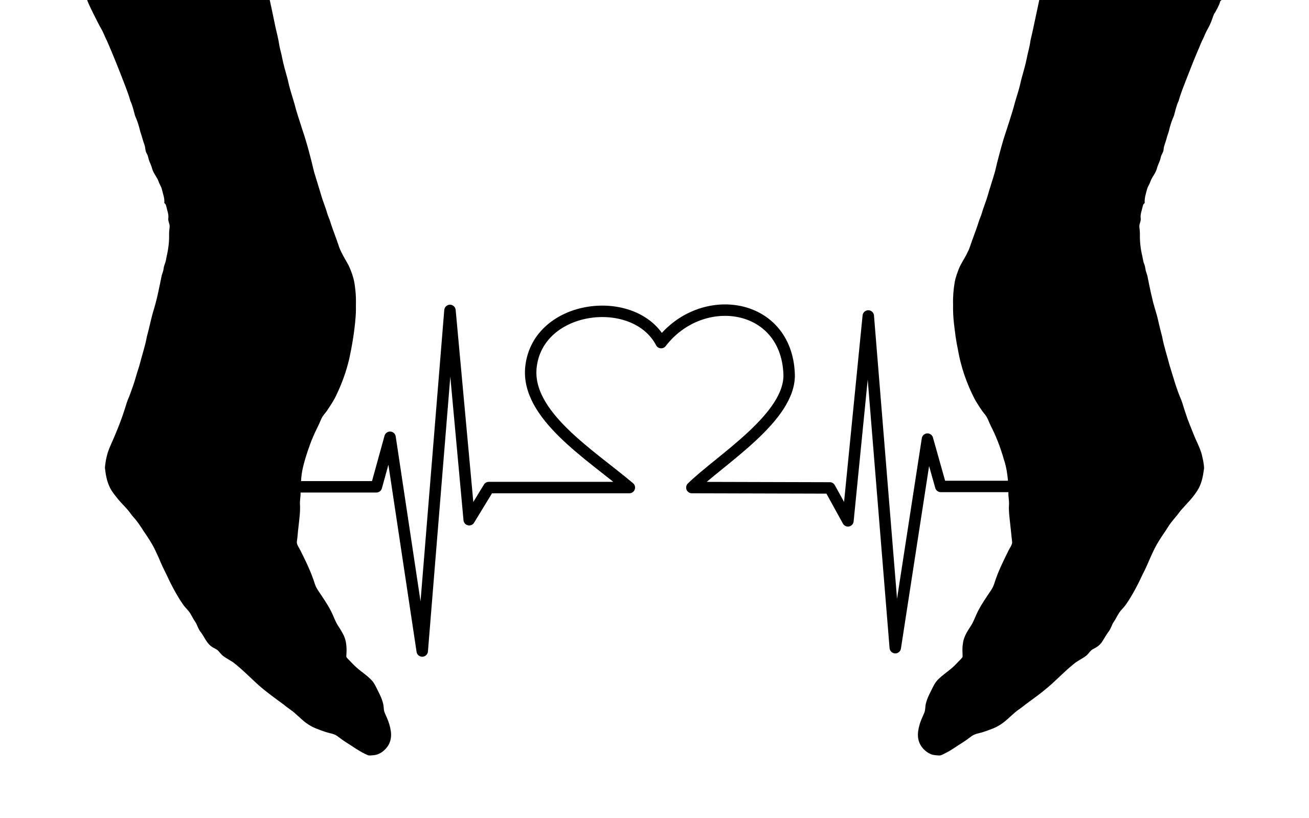 2560x1600 Cupping Hands Heart Ekg Silhouette Clipart