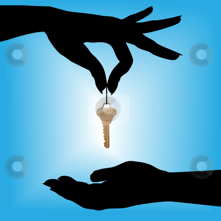 450x450 Silhouette Woman Drops Glowing House Key Into A Cupped Hand Stock