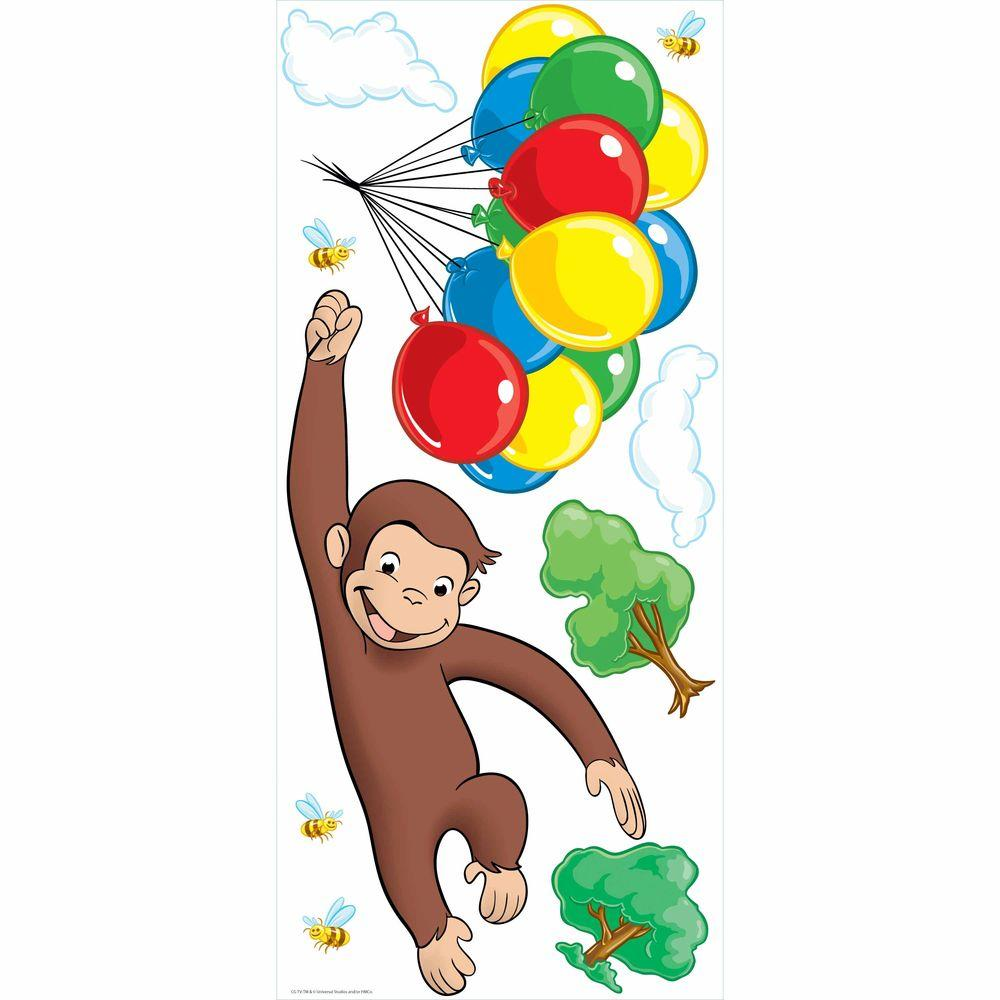 1000x1000 Roommates 5 In. X 19 In. Curious George Peel And Stick Giant Wall
