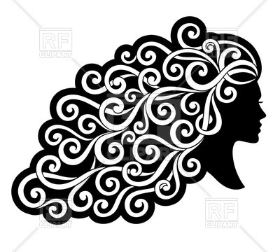 400x360 Silhouette Of A Woman With Curly Ornamented Hair Royalty Free