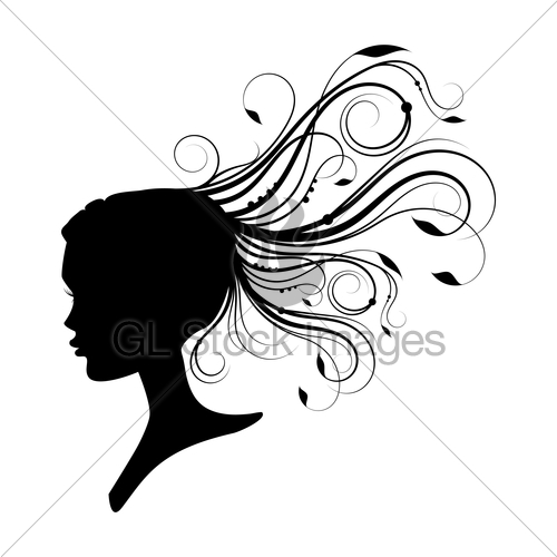 500x500 Women Head With Curly Hair Gl Stock Images