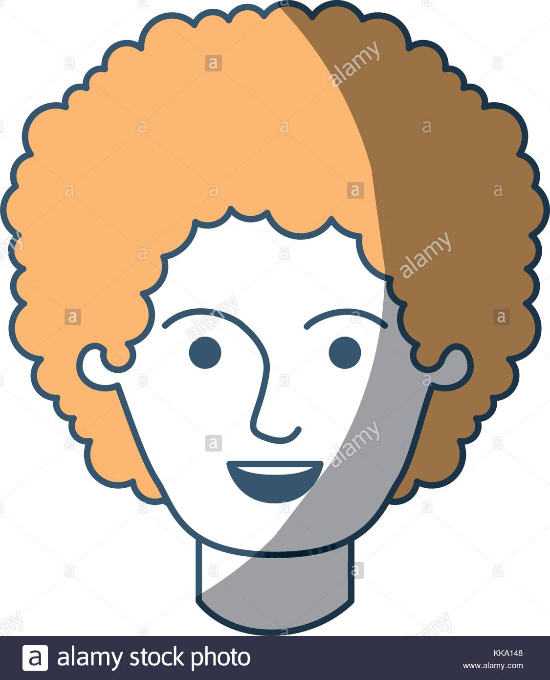 1125x1390 Male Face With Curly Hair In Color Sections Silhouette Stock