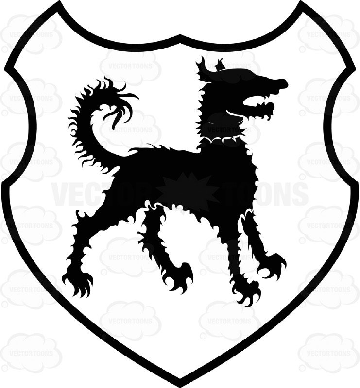 741x800 Black And White Curly Hair Dog Coat Of Arms Inside Geometric
