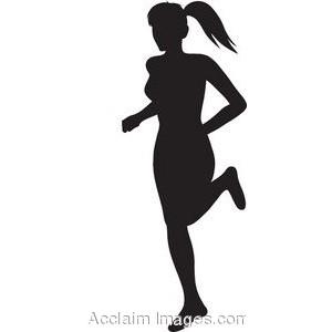 300x300 Female Running Clip Art Silhouettes