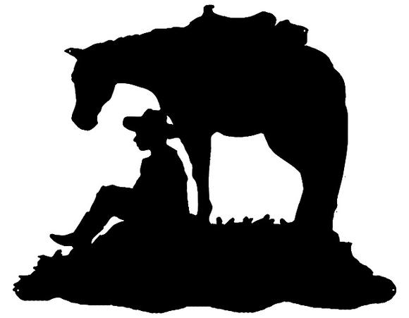 580x451 Cowboy And Horse Cut Out Wall Art Silhouette Metal Sign 24x29.5