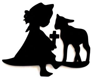 300x254 6 Easter Girl With Lamb Cross Silhouette Die Cut Embelishment