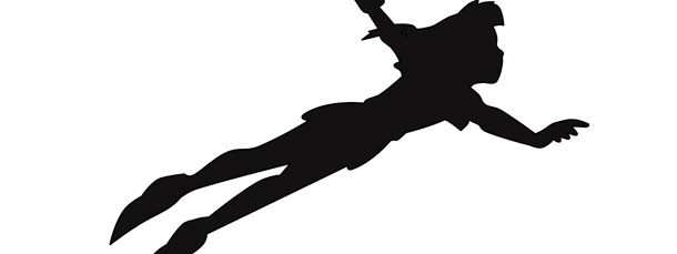 610x229 Peter Pan Flying Silhouette Cut Out Large