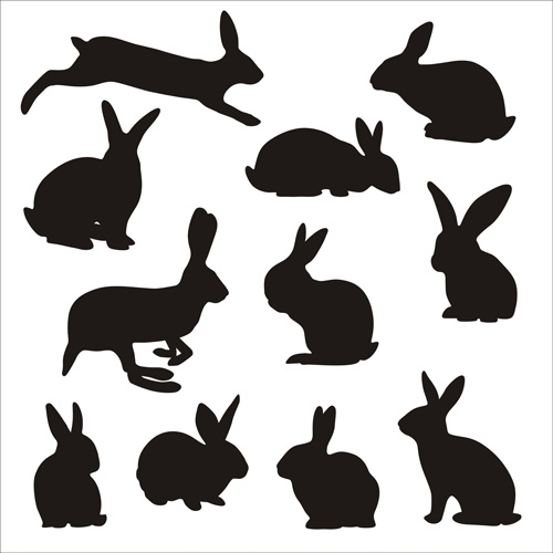 500x500 Rabbit Cute Silhouettes Vectors Free Vector In Adobe Illustrator