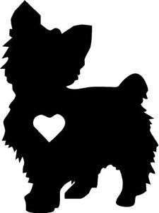 225x300 Yorkie Silhouette Vinyl Decalsticker Cute Animal Dog Family Pet