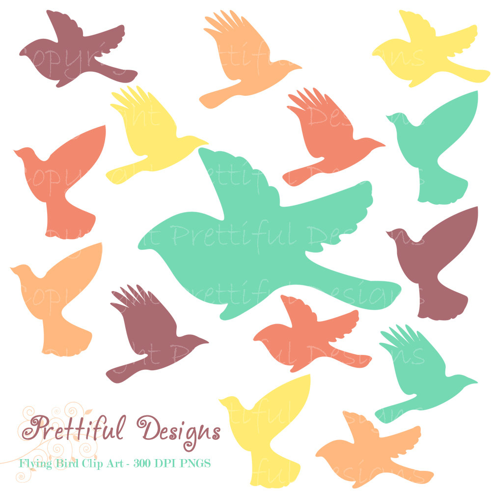 1000x1000 Flying Bird Silhouette Clip Art Teal Purple Orange Bird Clipart