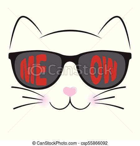 450x470 Cute Cat Silhouette. Black Head Of Cat With Lettering Word Eps