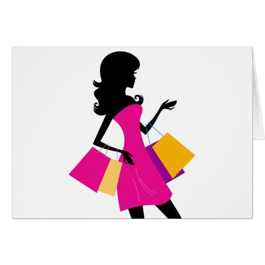 540x540 Cute Fashion Girl Silhouette Black, Pink Card