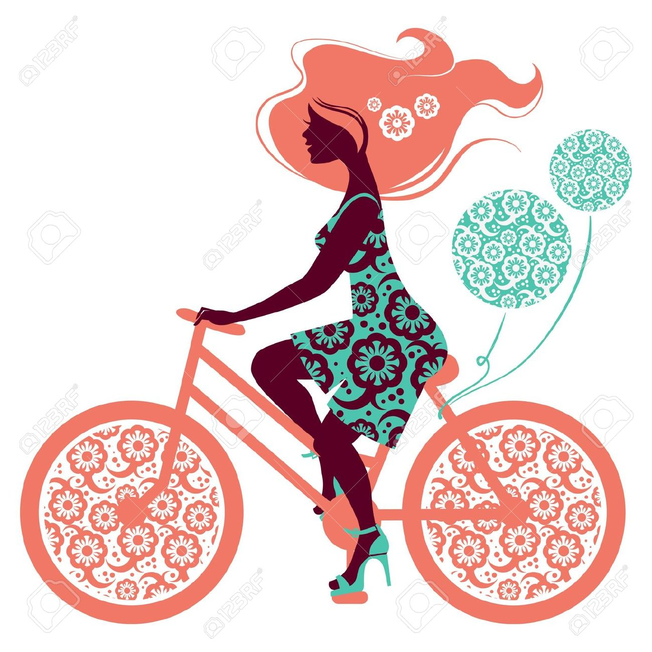 1300x1300 Pushbike Clipart Cute Lady