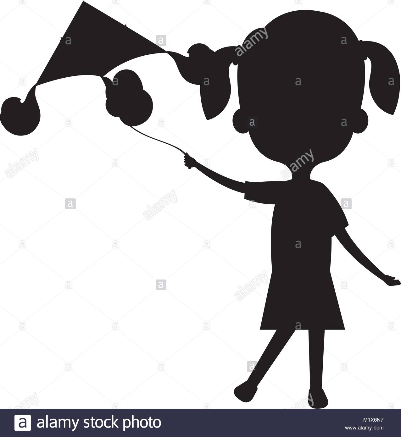1275x1390 Cute And Little Girl Flying A Kite Silhouette Stock Vector Art