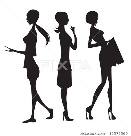 450x468 Silhouette Of Three Cute Fashion Girls Isolated On White Backgro