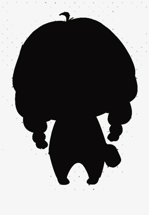 500x720 Cute Little Cartoon Girl With Black Silhouettes, Little Girl