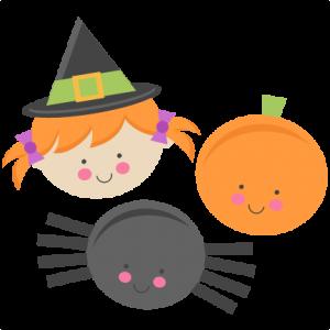 300x300 Cute Halloween Monsters Witch Pumpkin Spider Svg Scrapbook Cut