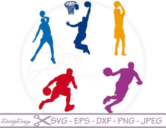 570x440 Svg Cutting Files Basketball Silhouette Digital Clipart, Clipart